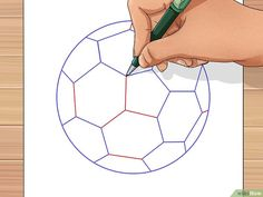 How to Draw a Soccer Ball. Soccer balls are fun to play with but can be unfamiliar to draw. The traditional soccer ball is made from two flat shapes, pentagons and hexagons. A pentagon, of course, is a five-sided polygon, while a hexagon. Ball Drawing, Paper Drawing, Line Drawing, Soccer Ball Crafts, Ben 10, Soccer Room Decor, Drawing Utensils, Flat Shapes, 3d Drawings