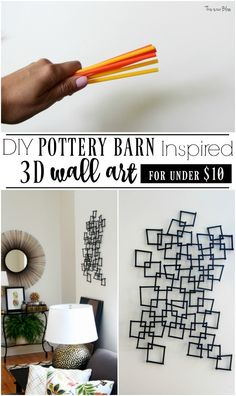 DIY Pottery Barn Inspired 3D wall art   You'll never guess what it's made with!   PB knock off decor   This is our Bliss   www.thisisourbliss.com