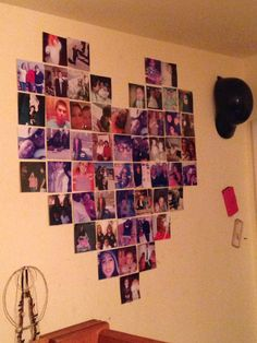 Diy heart photo decor I cut my regular pictures to 4x4 pictures but you can just print them out like that.Put a mark at the 1in 18in and 36 in across your wall and do the same up and down your wall making sure the 18 inch marks line up.Then add 7 pictures straight on the 18 in mark going upwards.Then add 2 more poctures on the second row from the bottom,4 more on the 3rd row,6 more on the 4th row 8 more on the 5,6,7 row and 8 on the 8th row skipping the middle one and finally 4 on the last…