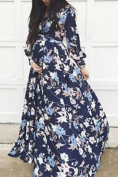 The maternity  commuting floral printed long sleeve dress is so casual and loose you will like it in summer. #maternityphotographysummer #maternityoutfitssummer #maternitydressphotographygowns #maternityoutfits #maternityoutfitscouples #maternitydresssummer #maternitydress #maternitydressescasual
