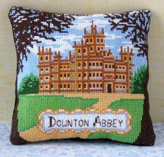 A Visit to Downton Abbey Mini Cushion Cross by SheenaRogersDesigns