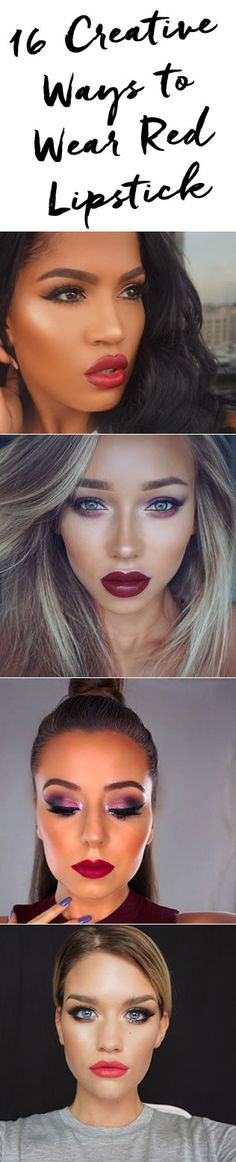 16 creative ways to rock red lipstick! http://blog.pampadour.com/roundup-gorgeous-red-lipstick-looks/  #redlips #lips #redlipstick #inspiration #lotd