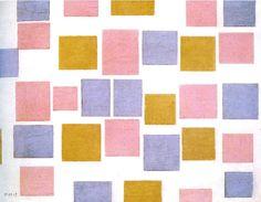 Mondriaan. compositie nr. 3 met kleurvakjes. 1917
