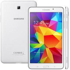 "Tablet Samsung Galaxy Tab 4 T230N, TV Digital Wi-Fi Android 4.4 Quad Core 1.2GHz 8GB Câmera 3MP Tela 7"", Branco - Shopfato"