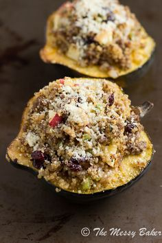 Sausage & Quinoa Stuffed Acorn Squash - made this tonight...so delicious! A perfect fall meal, and I think the stuffing could be a good GF holiday stuffing instead of bread stuffing!