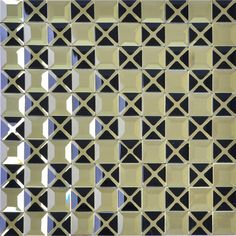 Diamond Mosaic 13 Face Gold Mirror Glass Tiles