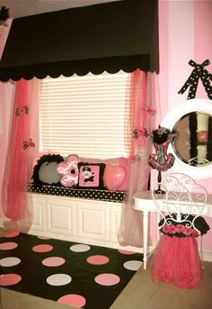 Pink and black bedroom...she'd love this one! Almost have everything together to start Morgan's new pink  black room. I love this over the window and the tulle one the makeup seat AND  the window seat. I can't totally pull this off