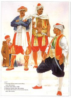 Typical clothing for Barbary corsairs sanctioned by the Ottoman Empire . Medieval Costume, Medieval Armor, Military Art, Military History, Arsenal, Pirate Images, John Ward, Old Warrior, Empire Ottoman