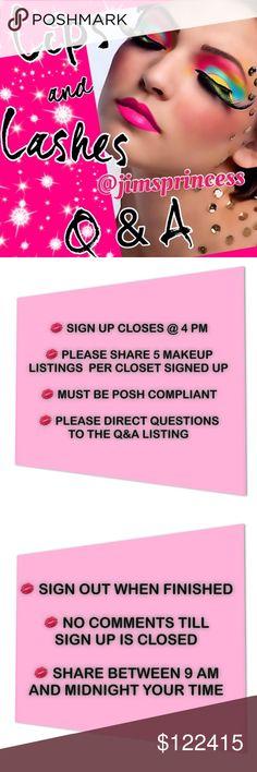 SIGN UP SHEET @hot_pink_mamas MAKEUP SHARE GROUP. SIGN UP SHEETS ARE IN @hot_pink_mamas CLOSET Makeup