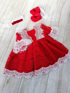 Christmas Girl Lace Dress Holiday Red Lace Dress baby | Etsy