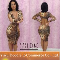Digital Print Prom Bandage Dress new style 2014 sexy bodycon club Tiger Glam dress long-sleeve women evening party dresses $13.99