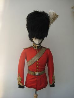 2nd Dragoons or Royal Scots Greys Victorian Officers uniform and black bearskin cap.