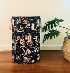 The latest addition to my shop: Hamper sized storage in a designer black cockatoo and banksia Australian print on cotton linen. Storing Blankets, Laundry Hamper, Tidy Up, Cockatoo, Cotton Linen, Print Design, Basket, Etsy Shop, Storage