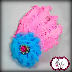 Feather Rosette Bow Feather Pad Bow Pink by HartOfKarenCreations, $12.00