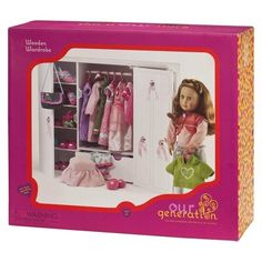 Our Generation Wooden Trunk for Dolls (less expensive than the American Girl Doll trunk! Cosas American Girl, American Girl Doll Sets, Wooden Wardrobe Closet, Diy Wardrobe, Our Generation Doll Accessories, Our Generation Dolls, Ag Dolls, Doll Toys, Girl Dolls