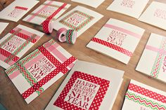 Easy Homemade Christmas Cards: Washi Tape Holiday Cards - Babble Dabble Do Scrapbook Christmas Cards, Christmas Envelopes, Xmas Cards, Holiday Cards, Greeting Cards, Washi Tape Frame, Washi Tape Cards, Washi Tape Diy, Homemade Christmas Cards