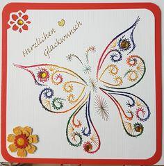 Fadengrafik - GrußKarten - Set mit dem abgebildeten Fadengrafik-Motiv  bestehend aus: 1 Doppelkarte / Klappkarte im Format 13,5 x 13,5 cm 1 passender Briefumschlag (je nach Verfügbarkeit) in...