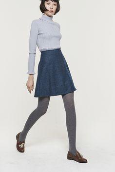 Bush Tweed Skirt (Blue) - Miss Patina - Vintage Inspired Fashion Vintage Inspired Fashion, 1960s Fashion, Girl Fashion, Fashion Outfits, Fasion, Fashion Design, Geek Chic Outfits, Preppy Fall, Tennis Fashion