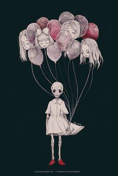 balloon heads . faceless skull . little girl . drawings . Amazing Illustrations by Sai Cute skulls