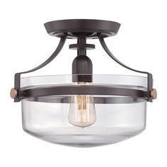 Quoizel Uptown Penn Station 13-in W Western Bronze Clear Glass Semi-Flush Mount Light