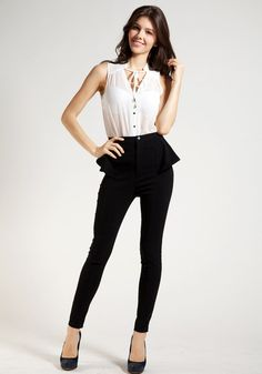Peplum Skinny Pants - Black