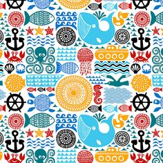 sea pattern by dennisthebadger, via Flickr  bright colors, whale, octopus, fish pattern.