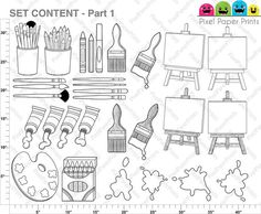 Little artists  Digital stamps set  Art party