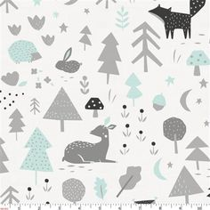 Icy Mint and Silver Gray Baby Woodland Fabric by Carousel Designs.