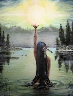 Tribute to the Dawn by Samuel Véronneau - Oil - Contemplative kp Native American Paintings, Native American Pictures, Native American Indians, Native American Women, Spirited Art, Goddess Art, American Indian Art, Indigenous Art, Visionary Art