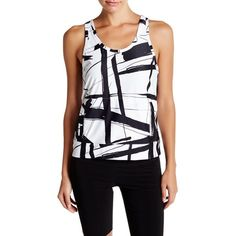 Norma Kamali Abstract Two-Tone Tank ($55) ❤ liked on Polyvore featuring tops, abstractlines, racerback tank, scoop neck tank top, scoopneck tank, scoop neck sleeveless top and racerback top