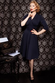 Miss Candyfloss - 50s Vedette Navy Swing dress