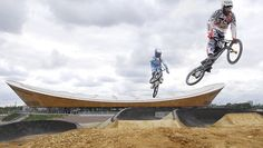 The brand new 400-metre BMX Track is located next to the Velodrome in the north of the Olympic Park.    The entire venue covers a total area of 160m by 90m, slightly larger than the size of a football pitch.