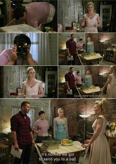 """""""Wow, I really need to get my own place."""" -Emma, """"Cut your mother some slack. It's not like we got to send you to a ball."""" David, Mary Margaret and Elsa - 4*4 """"The Apprentice."""" #TheCharmings #FrozenSwan #Snowing"""