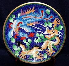 Chinese Cloisonne Plate the dragon and the phoenix - yin and yang!
