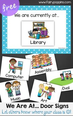 "Free Classroom Sign and Labels - ""Where we are currently at..."". Labels include activities such as art, computer, music, assembly etc"