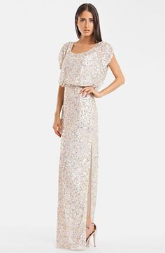 JS Collections Blouson Bodice Sequin Mesh Gown - in Rose Gold (my wedding band is rose gold)
