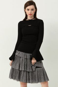 Shena Cut Out Pullover Discover the latest fashion trends online at storets.com  #blackpullover #blackknit #blackcutoutknit