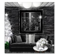 """""""A Modern Christmas"""" by passion-fashion-2 ❤ liked on Polyvore featuring interior, interiors, interior design, home, home decor, interior decorating, Crate and Barrel, ELIZABETH HURLEY beach and modern"""