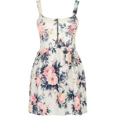 Cameo Rose White Floral Print Zip Front Bustier Dress (190 MXN) ❤ liked on Polyvore featuring dresses, vestidos, robe, short dresses, white floral dress, white fit and flare cocktail dress, white sleeveless dress, white fit-and-flare dresses and white dress