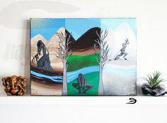 Seasonal Monsters  Original Landscape nature art painting