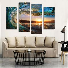 Cheap scenery painting, Buy Quality home decor directly from China painting sunset Suppliers: Frameless Sunset Scenery Painting Home Decoration Four Fight Scenery Frameless Painting 1049 Sunset Over the Sea Waves