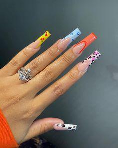 Acrylic Nail Set, French Tip Acrylic Nails, Long Square Acrylic Nails, Bling Acrylic Nails, Acrylic Nail Designs, Nail Art Designs, Gel Nails, Christmas Acrylic Nails, Mystic Nails