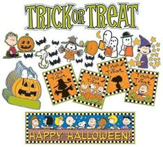 Eureka Peanuts Halloween Mini Bulletin Board Sets: Each set contains 8 panels packaged in a polybag with a header. Total package size is wide x long. Includes: 36 Die-Cut Illustrations, 36 Paper Cut-Outs and 2 Banners (Partial Set Shown) Great Pumpkin Charlie Brown, Charlie Brown Peanuts, Peanuts Snoopy, Halloween Themes, Fall Halloween, Happy Halloween, Halloween Decorations, Halloween Bulletin Boards, Peanuts Halloween