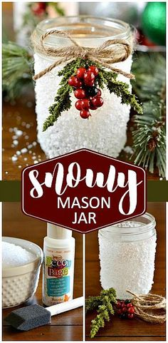 DecoArt Blog - Crafts - Snowy Mason Jar                                                                                                                                                                                 More