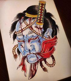 Search inspiration for a Japanese tattoo. Japanese Tattoos For Men, Traditional Japanese Tattoos, Japanese Tattoo Art, Japanese Tattoo Designs, Japanese Sleeve Tattoos, Samurai Mask Tattoo, Hanya Tattoo, Irezumi Tattoos, Geisha Tattoos