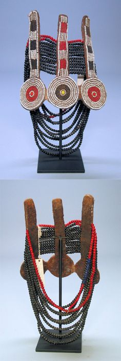 Africa | Necklace. Turkana peoples, Kenya | Beads, leather, string | mid 20th century | 450$ ~ Sold