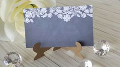 Rustic Chalkboard Place Card - Vintage Lace Chalkboard Print Escort and Place Cards - With Easel Holder - Personalized - Wedding Place Cards by PickledCherryPaper on Etsy https://www.etsy.com/listing/473168420/rustic-chalkboard-place-card-vintage