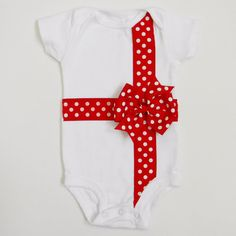 Christmas Bow Applique Onesie or T-Shirt by TheBaerEssentials
