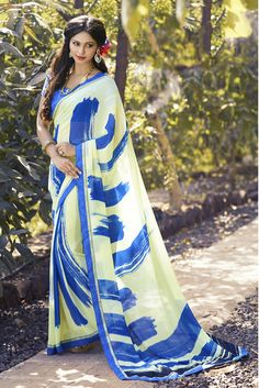 Beautiful Designer Georgrtte Saree By Indian Vogue