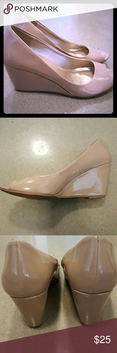 """Nude Patent Leather Peep Toe Wedges Nude, patent leather, peep toe wedge shoes. 2"""" wedge heel. Very comfortable, great for outdoor weddings and events!   Worn 1x to a wedding. Like new condition - minimal wear. Chinese Laundry Shoes Wedges"""